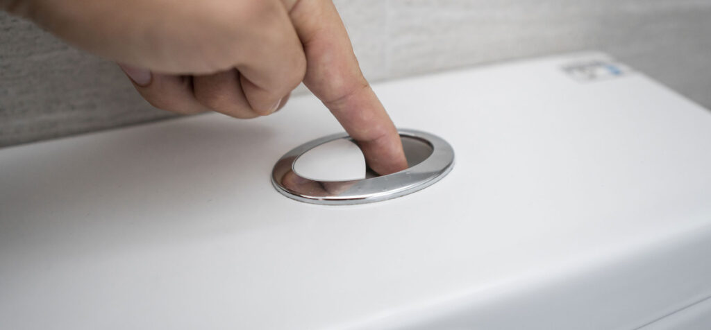 pushing the button on top of a toilet cistern