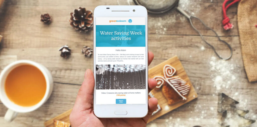 Water Saving Week campaign on a phone