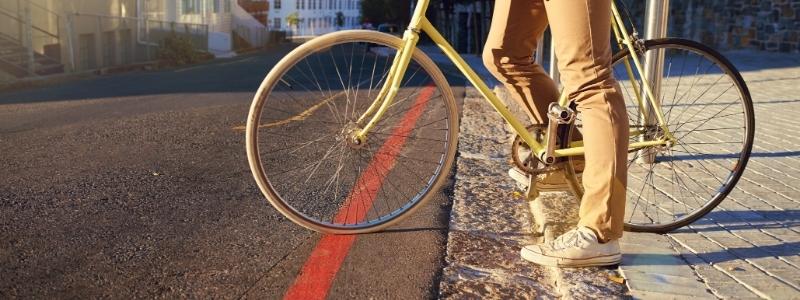 Bike stationary in the road