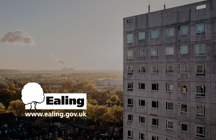 Block of flats greyed out with Ealing logo